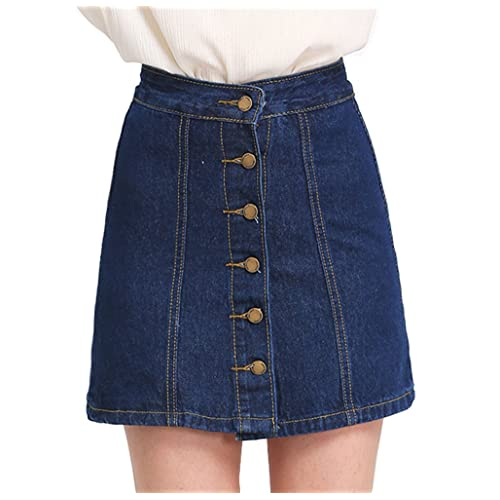 23a855528927 SheIn Women s Button Front Denim A-Line Short Skirt