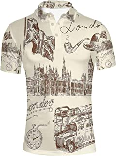 Paris City Decor Stylish Polo Shirt,Eiffel Tower with Paris I Love You Message Polka Dot Background Vintage Art for Men,S