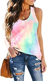 Women's Sleeveless Workout Tank Tops Racerback Cute Printed Yoga Tops Tie Dye Loose Fit Running Exercise Gym T-Shirts