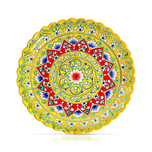 Plato de cerámica con borde en relieve, Lagan Oriental, plato para servir Rishtan amarillo, pintado a mano, diámetro 31 cm