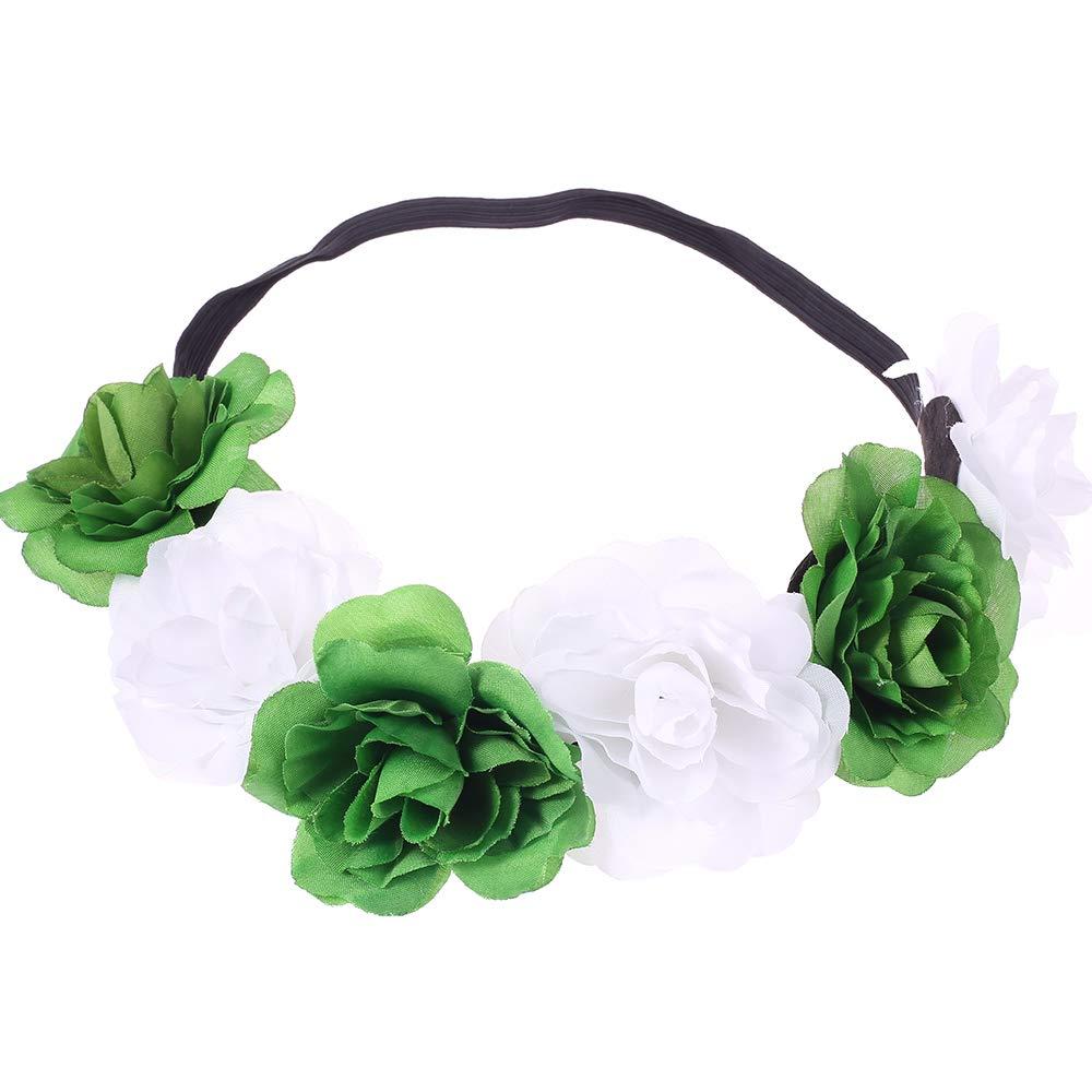 Love Sweety Rose Flower Headband Floral Crown Mexican Hair Wreath (Green White)