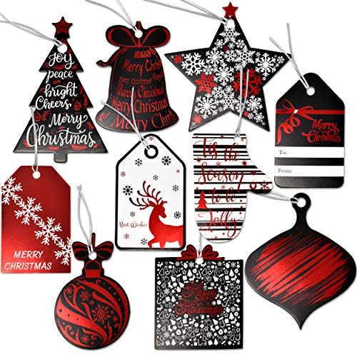 120 Christmas Elegant Gift Tags with Ribbon Tie Strings Attached 10 Red Foil Black & White Designs Personalized Holiday Name Tag Labels Write On to and from for Gift Bags Wrapping Presents & Packages