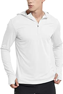 Sponsored Ad - MIER Men's Sun Protection Hoodie 1/4 Zip Long Sleeve Workout Shirts with Hood, Lightweight Quick Dry Runnin...