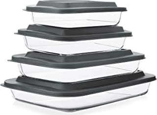 8-Piece Deep Glass Baking Dish Set with Plastic lids,Rectangular Glass Bakeware Set with BPA Free Lids, Baking Pans for La...