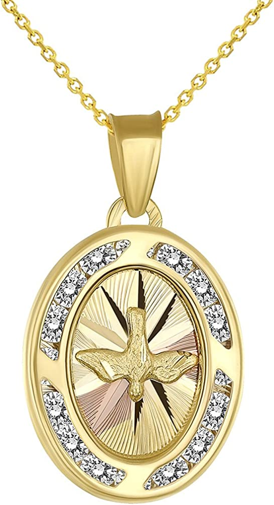 Textured 14k Yellow Gold Holy Spirit Dove Medallion Charm Pendant Necklace with Cubic Zirconia Gemstones