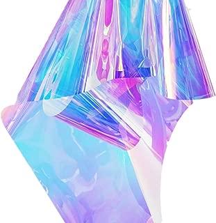 Emoyi Rainbow Glossy Clear Film Holographic Vinyl for Bag Patchwork DIY Window Film Arts Projects 17.7''x39''