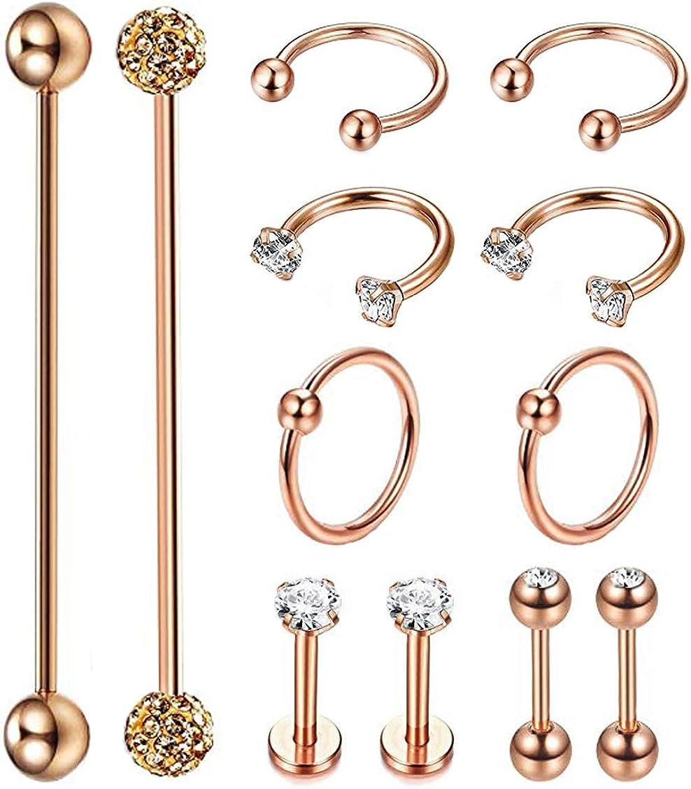 Masedy 12Pcs Stainless Steel Industrial Barbell Cartilage Piercing Earrings for Women Men Hoop Helix Tragus Labret Piercing