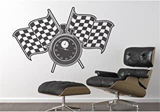 kinmes Vinyl Wall Art Inspirational Quotes and Saying Home Decor Decal Sticker Racing Flags Stop Watch Home décor