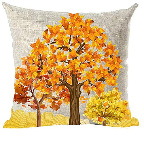 ramirar - Funda de cojín Pintada a Mano con diseño de Hojas de Arce Amarillas y Naranjas, para decoración de otoño y otoño, 45 x 45 cm