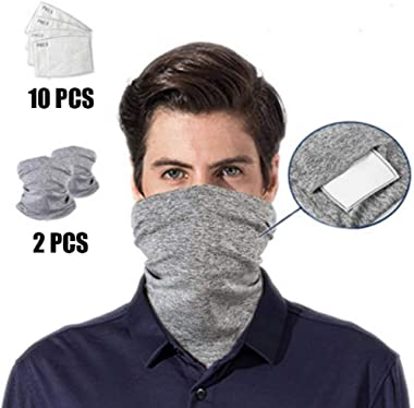 Timall Multi-Purpose Bandanas Neck Gaiter with Safety Filters, Unisex Anti-Dust Washable, for Men Women Outdoors/Festivals/Sports
