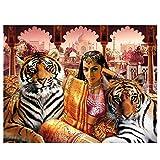 WZADXY 1 Piezas Lienzo Pintura Madera 3D Pintura egipcia Belleza y Tigre Cuadrado DIY Pantalla Completa decoración del hogar