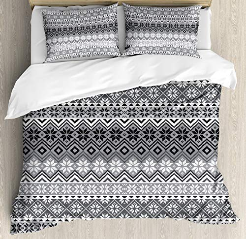 LREFON Lightweight Breathable Warm 3-Piece Bedding Set 86'X70' Grey Nordic Snowflake Knit s Scandian Motifs Twin Size Comforter