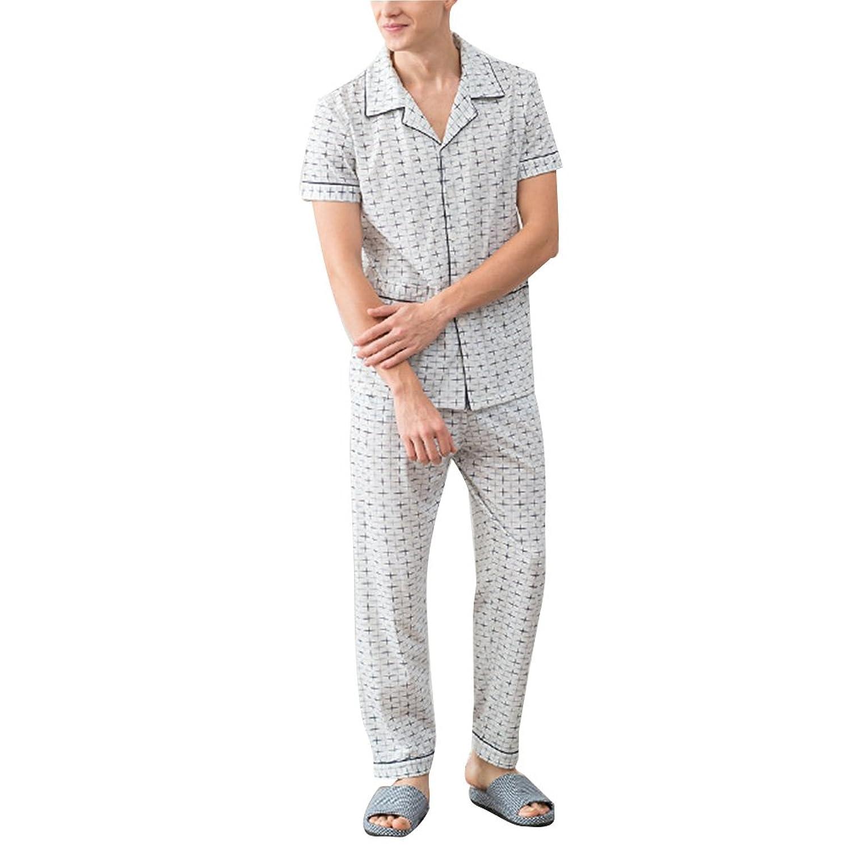 Zhhlaixing 高品質の 2 Piece Mens Classic Pyjama Set Comfortable Cotton Nightwear Sleepwear