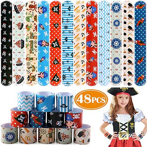 Tacobear 48 pcs Schnapparmbänder für Kinder Piraten Slap Armband Klatscharmband für Piraten Party Piraten Mitgebsel Kindergeburtstag Gastgeschenke für Mädchen Junge