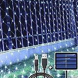 204 LED Rete luminosa, 3M x 2M Tenda Luci di Netta Energia Solare/USB, Ricaricabile Corde Garden Fata di Luce, Luminosa di Natale per Esterni Matrimonio Festa Gazebo Interno Esterno, Bianco Freddo