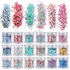Glitter Quantity: 18 Boxes Holographic Cosmetic Festival Chunky Glitters Sequins, 18 Colors Total 180g Nail Sequins Iridescent Flakes, for Body Face Hair Make Up Nail Art Mixed Color Glitter. You will get total 18 boxes body glitter in different. Cap...
