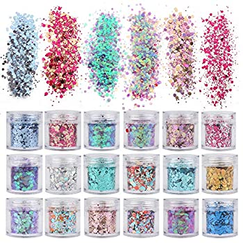 18 Boxes Holographic Cosmetic Festival Chunky Glitters Sequins Nail Sequins Iridescent Flakes Cosmetic Paillette Ultra-Thin Tips for Body Face Hair Make Up Nail Art Mixed Color Glitter