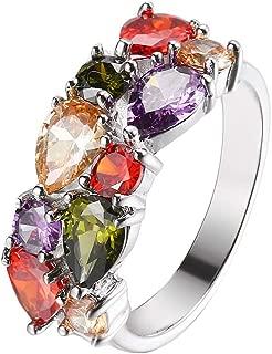 Silver Angel Gemstone Ring Morganite Garnet Amethyst Peridot for Women, Girl 6 7 8 9 10