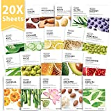 [THEFACESHOP] Korean Facial Mask Sheets, Real Nature Full Face Masks Peel Off Disposable Sheet - 20 Masks
