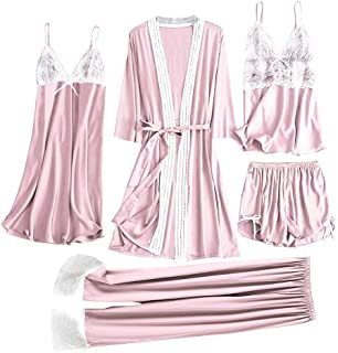 FWEIP 5Pcs Women Satin Lace Simulation Silk Pajamas Set Camisole Trousers Shorts Nightdress Robe Pajamas Lingerie