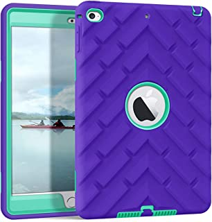 Hocase iPad Mini 5 (A2133/A2124/A2126) Case, Rugged Shockproof Hybrid Hard Plastic+Anti-Slip Silicone Rubber Bumper Protective Case for iPad Mini 5th Generation 2019, iPad Mini 4 2015 - Purple