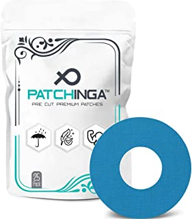 PATCHINGA Parche Adhesivo Freestyle Libre, Glucómetro, Cinta, Parches Para Sensor Autoadhesivo I Impermeable - Hipoalergénico - Transpirable I 25 Piezas (azul)
