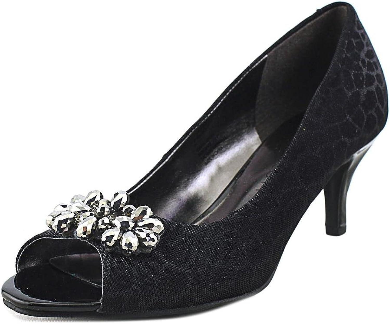 Karen Scott Maralyn Jeweled Peep-Toe Heels - Black