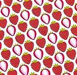 0,5m Stoff Erdbeeren weiß Meterware