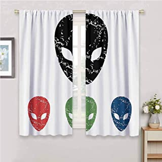 Outer Space Decor Blackout Curtain Set Grunge Illustration of Surreal Alien Head with Motley Effects Threat Forms Kindergarten Shading Insulation W54 x L72 Inch Blue Green