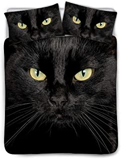 BIGCARJOB Black Cat Print Bedding Cover Sets Zipper Closure Coverlets Pillowcase Ultra-Soft Comforter Cover Black Lining Queen Size 88x88inches
