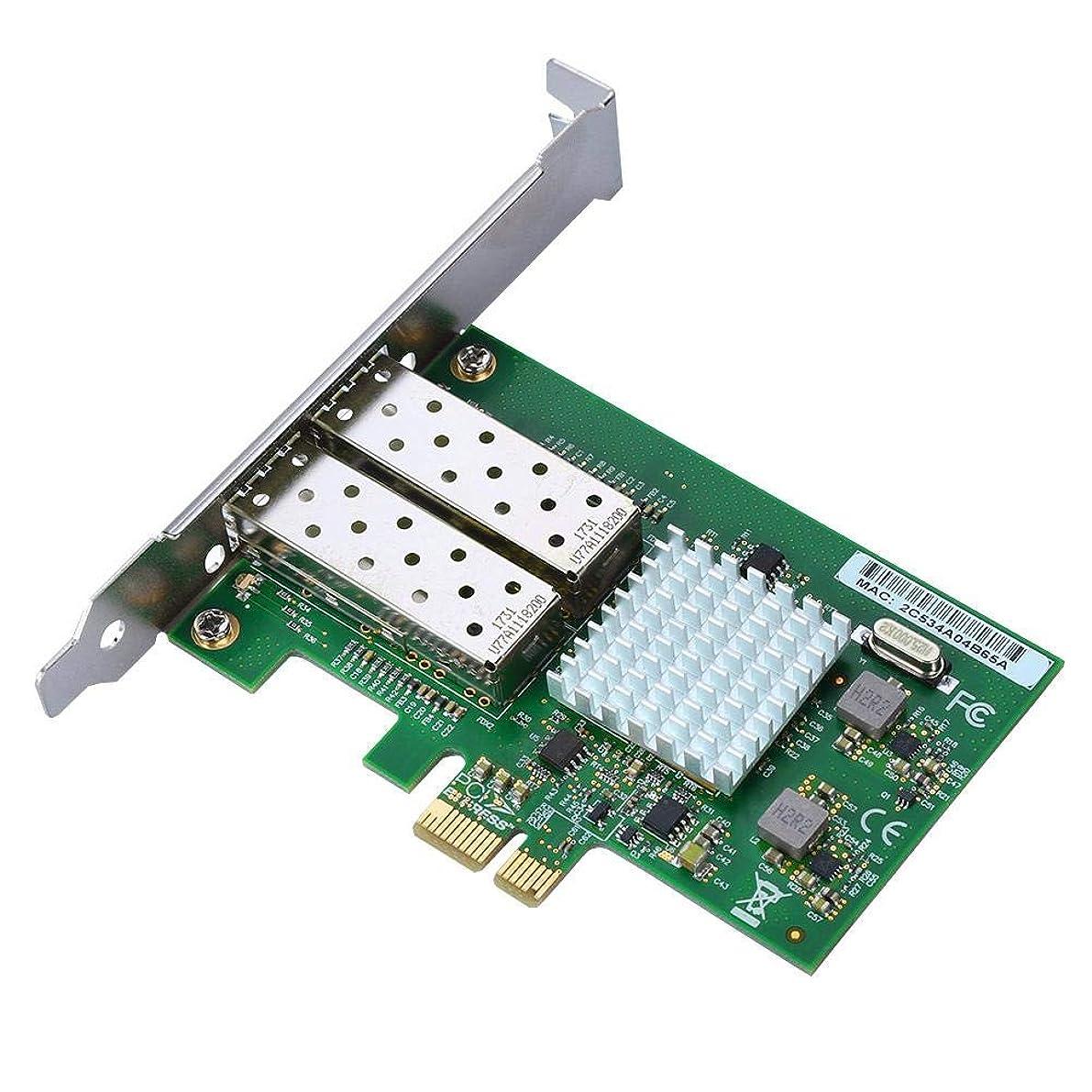 優遇反対量Serounder デュアルギガビット PCI-e ネットワークカード 10/100/1000Mbps デュアルポート RJ45 x 2 イーサネット PCI Express ネットワークアダプターカード Intel 82576-2SFP チップ用 Linux システムとの互換性あり