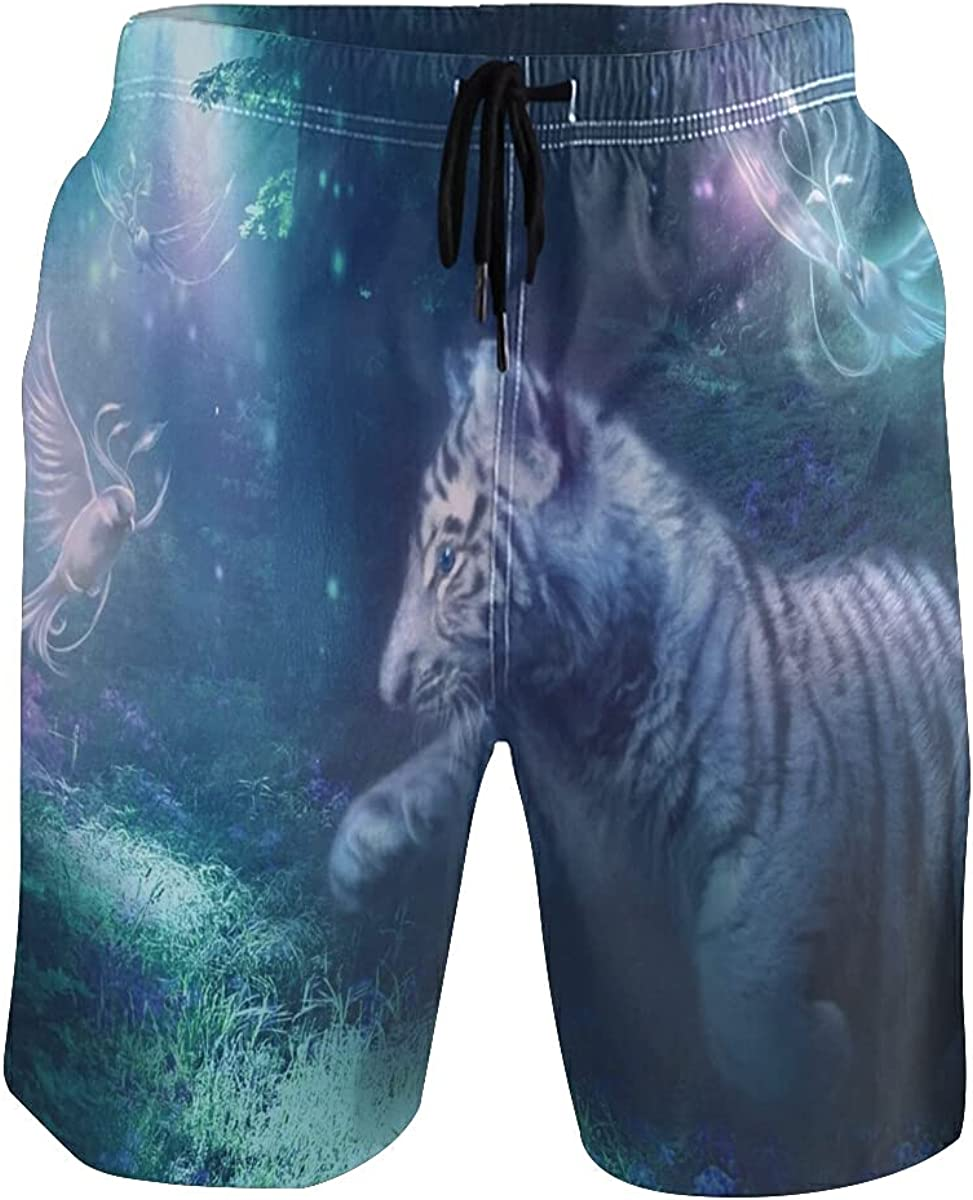 Cute Tiger Bird Jungle Men's Swim Trunks Quick Dry Shorts with Pockets