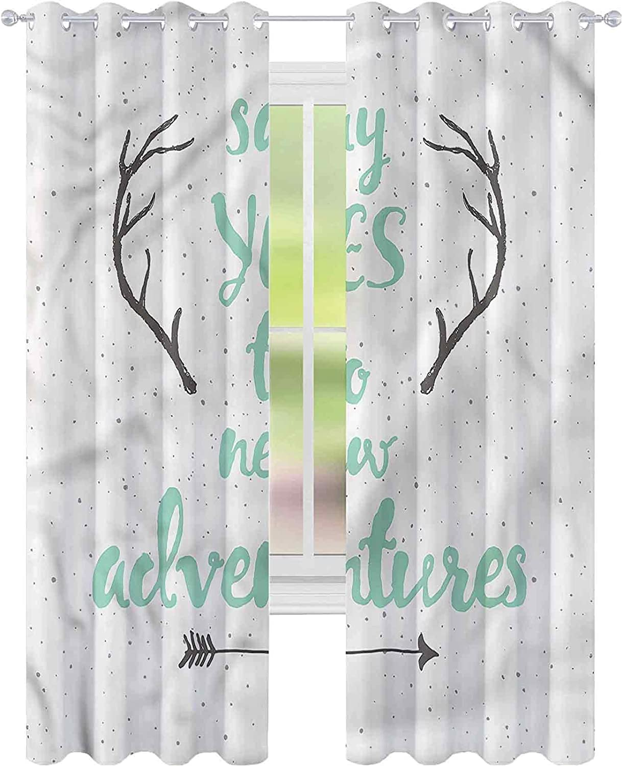 Blackout Window Curtain Adventure Max 73% OFF Quote W42 x Arrows Brand new L84 Antlers