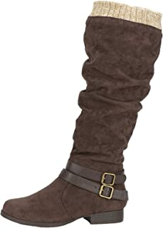 Lanyani Women's Slouch Flat Knee High Boots Comfy Wide Calf Vegan Suede Side Zipper Round Toe Riding Boot