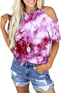 KCatsy Kvinnors toppar linne sommar kortärmad / ärmlös knytband kall axel sling hals mjölkfiber t-shirt