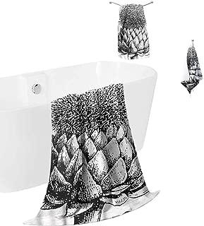 hengshu Artichoke Microfiber Bath Towel Sets Extra Large Blossoming Plants Quick Dry Towel Hand Towels