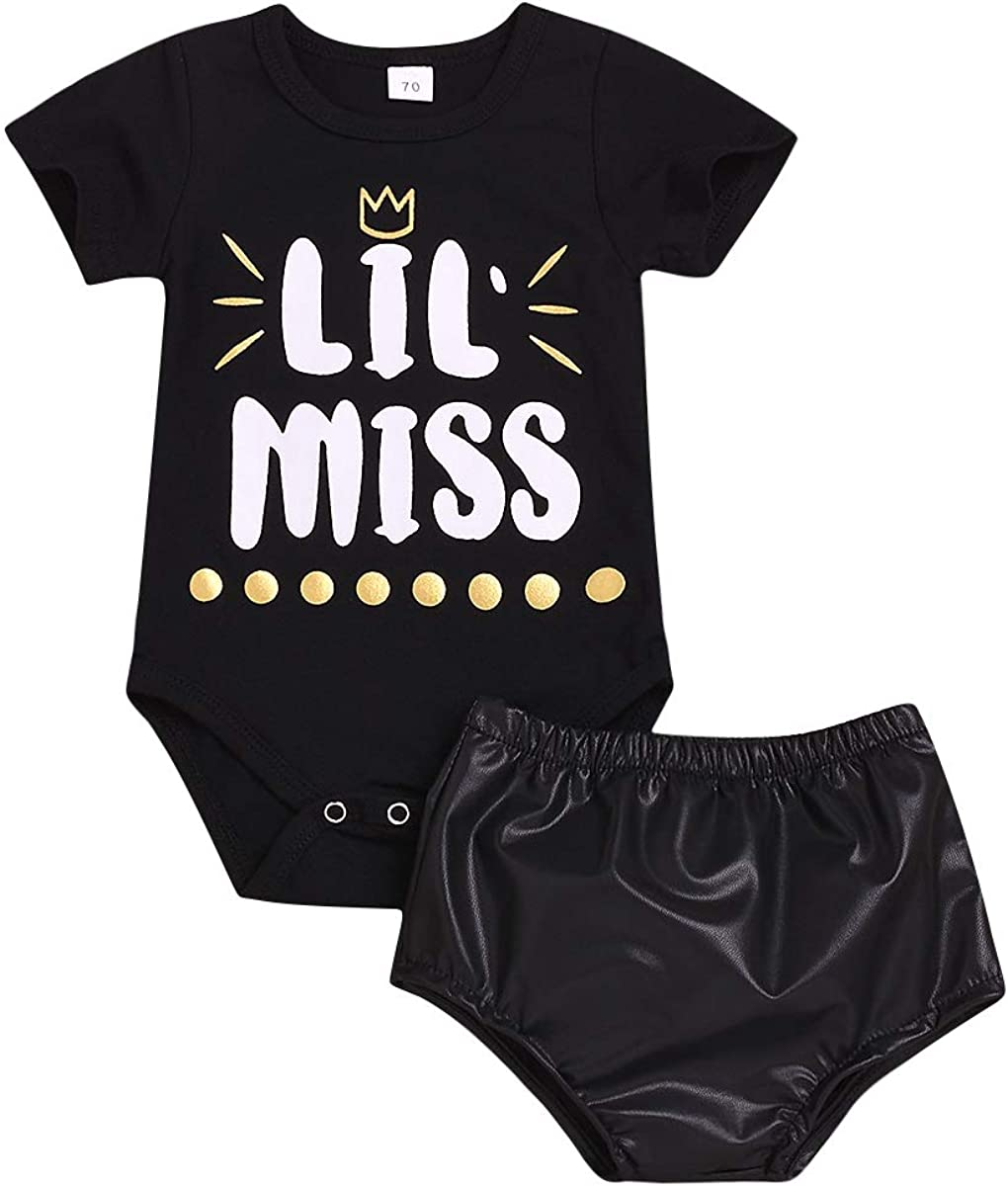 Baby Girls Big Little Sister Matching Outfits Short Sleeve Shirt Top PU Shorts Set