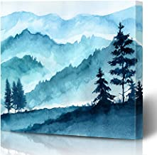 Ahawoso Canvas Prints Wall Art Printing 12x12 Blue Water Watercolor Mountains Landscape Trees Sky Nature Color Abstract Silhouette Sketch Pine Painting Artwork Home Living Room Office Bedroom Dorm