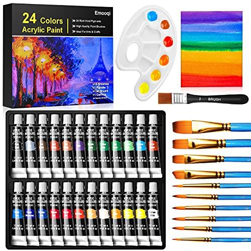 Acrylic Paint Set, Emooqi 24(12ml/0.4oz) Rich Pigment Colors, with 11 Art...