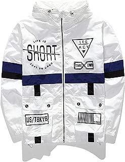 Men's Fashion Lightweight Hooded Zip-up Letter Windbreaker Jacket