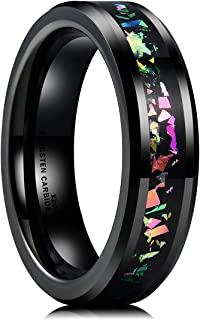 King Will Nature Mens 6mm Black Tungsten Carbide Ring Inlaid with Opal Fragments/Multicolor Fragments Wedding Band