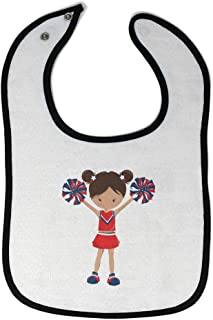 Custom Baby Bibs Burp Cloths Cheerleader 2 Hands up S Red Cotton Baby Items for Baby Girl & Boy White Black Design Only