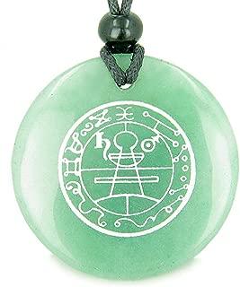 Secret Seal of Solomon Protection Powers Green Quartz Magic Pendant Necklace