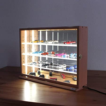 カバヤシ LEDライト付 コレクションケース ワイド 透明アクリル棚板タイプ ナチュラル木目 W470xD120xH345mm IT-CCM-202NM-LED ディスプレイケース