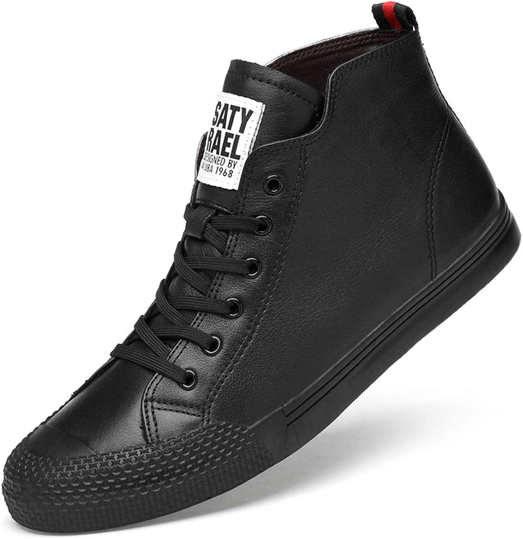 Män's Casual skor Fall och Winter Winter Winter Deck skor Lace Up läder skor Academy High Top skor Hiking skor Daily skor svart vit, svart 45  snabb frakt till dig