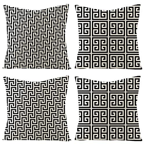 NSWMDSTD Fundas De Cojines,Deslumbrante 4Pcs Throw Pillow Fundas Cojín Cubierta Decorative Linen Square Single-Sided Printing Pillow Covers For Home Office Sofa Couch Car 45 * 45Cm