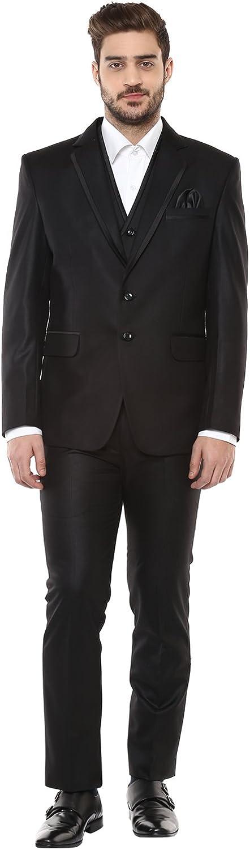 LUXURAZI Essential Black Festive/Wedding Wear 3 Piece Suit