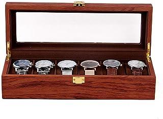 Sponsored Ad - DNYSYSJ Watch Case, Wooden Watch Box Display Case Organizer, Jewelry Storage Velvet Cloth Watch Holder with Glass Lid, Watch Display Box (6 Slot)