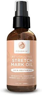 Revitalizing Stretch Mark Oil - Stretch Mark Removal and Prevention - Improve Scars & Cellulite - With Sea Buckthorn, Rosehip, Cranberry Seed & Meadowfoam Seed Oil - 100% Natural - Foxbrim 2oz