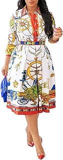 VERWIN Three-Quarter Sleeve Print Lapel Pullover Women's Day Dress A-Line Pleated Dress Midi Dress